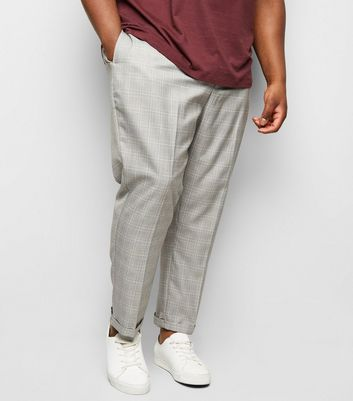 Plus Size Pale Grey Grid Check Print Trousers