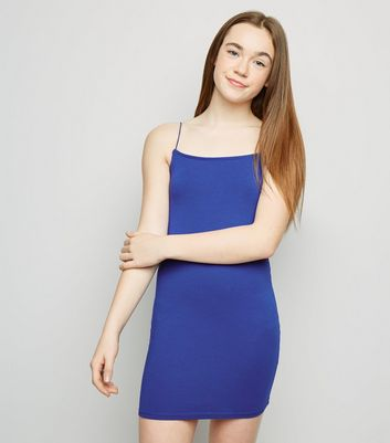 Girls Blue Square Neck Bodycon Dress