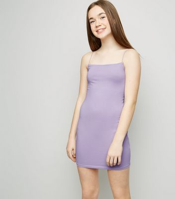 Girls Lilac Square Neck Bodycon Dress