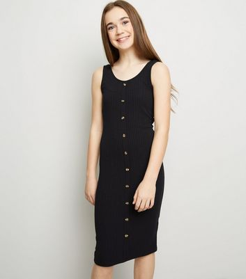 Girls Black Button Front Midi Bodycon Dress