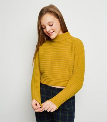 Girls Mustard Ribbed High Neck Jumper