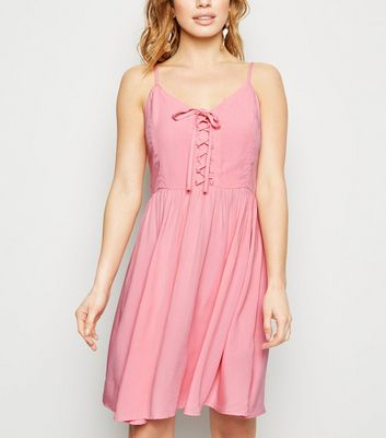 Petite Mid Pink Lace Up Mini Dress
