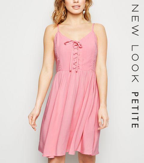 e0f0a7d98fa2dd ... Petite Mid Pink Lace Up Mini Dress ...