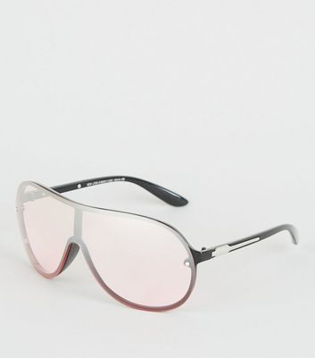Black Rounded Visor Sunglasses