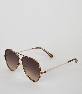 Dark Brown Animal Print Round Pilot Sunglasses