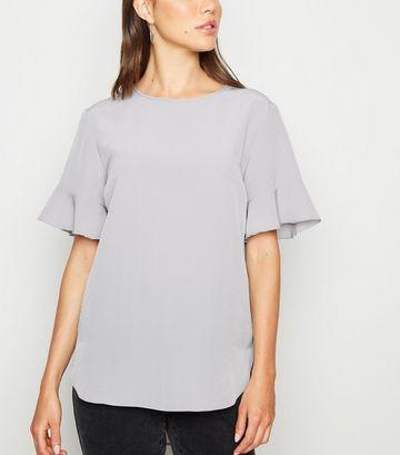 Pale Grey Frill Sleeve T-Shirt
