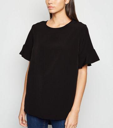 Black Frill Sleeve Dip Hem T-Shirt