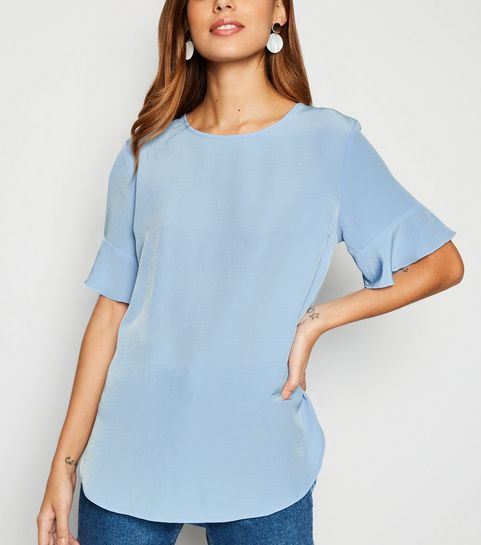 d4e5161d501 ... Pale Blue Frill Sleeve T-Shirt ...