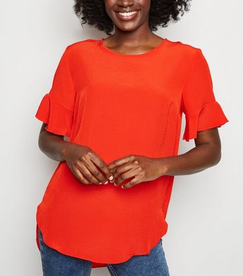 Red Frill Sleeve T-Shirt