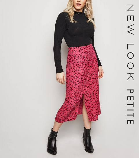 85c51afbbb2 ... Petite Bright Pink Button Front Floral Midi Skirt ...