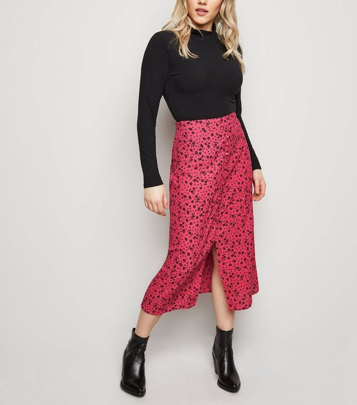 c1fff960082 Petite Bright Pink Button Front Floral Midi Skirt