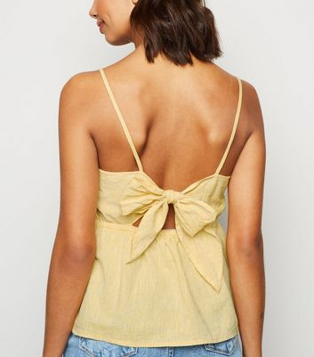 Yellow Linen Blend Tie Back Cami