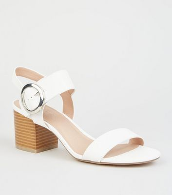 White Comfort Flex Leather-Look Sandals