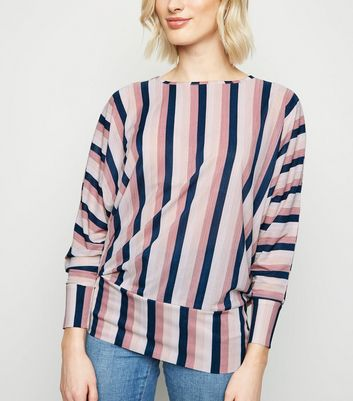 Blue Vanilla Multicoloured Stripe Batwing Top