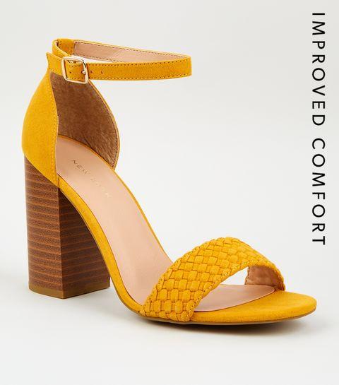 26b3fa636086e ... Mustard Woven Strap Block Heel Sandals ...