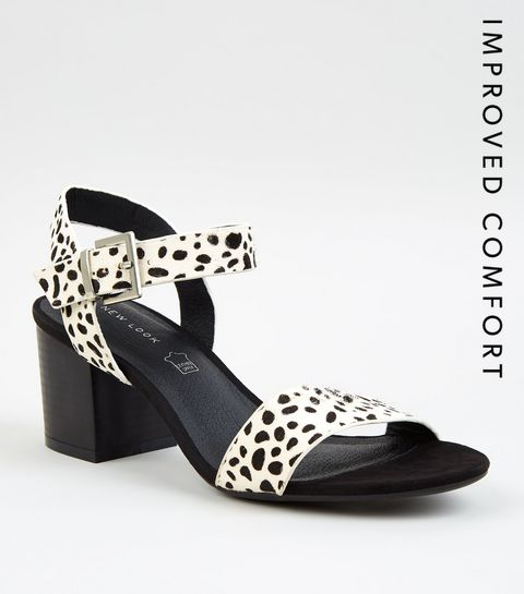 31545d396e4 ... White Leather Spot Block Heel Sandals ...