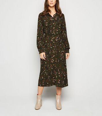 shop for Green Camo Print Midi Shirt Dress New Look at Shopo