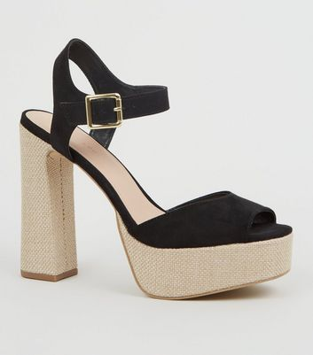 Black Woven Platform Block Heel Sandals