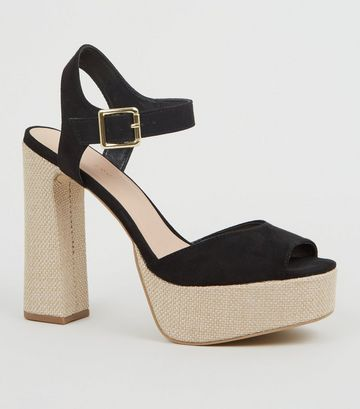 Black Woven Platform Block Heel Sandals