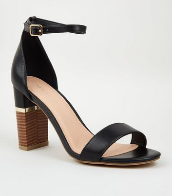 Black Leather-Look Metal Trim Wood Block Heels