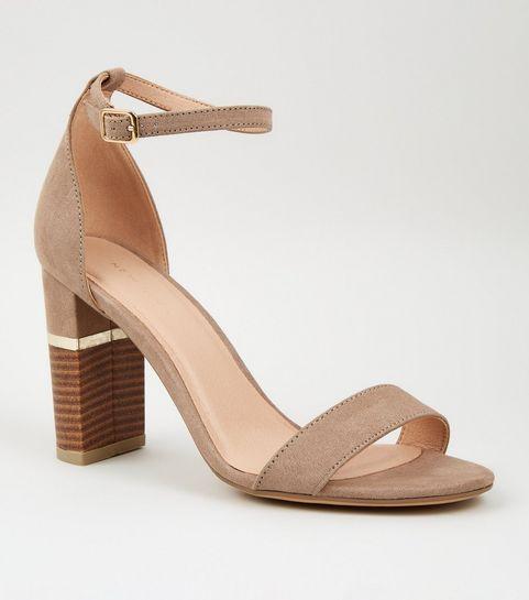 69ea297b574 ... Brown Suedette Metal Trim Wood Block Heels ...