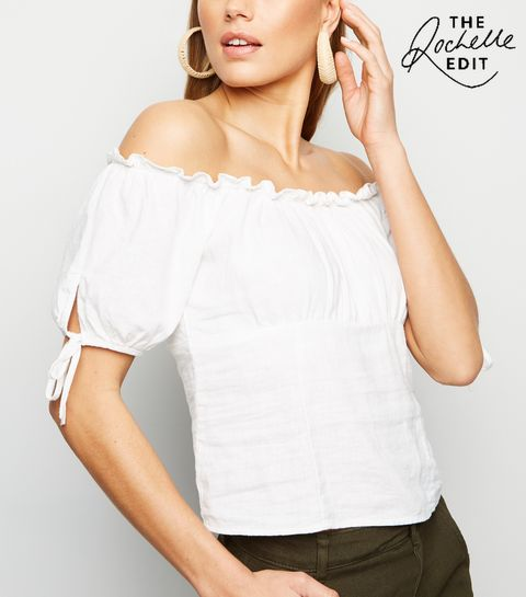 466d238a9a2aa ... White Linen Blend Tie Sleeve Milkmaid Top ...