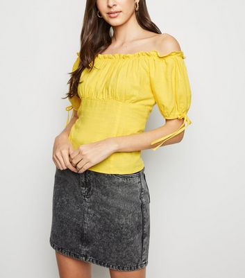 Yellow Linen Blend Tie Sleeve Bardot Top