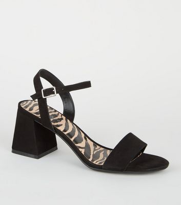 Black Suedette Animal Print Insole Heels