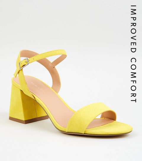 aadb829c0e4 ... Yellow Suedette Flared Low Block Heels ...