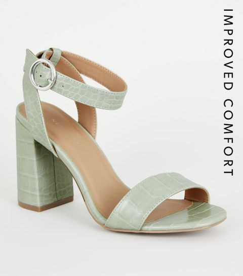 fefa97eb853 ... Mint Green Faux Crock Block Heel Sandals ...