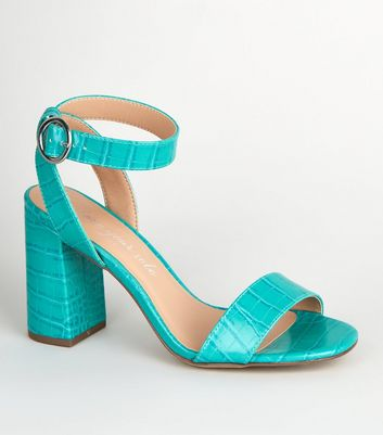 Teal Faux Croc Block Heel Sandals
