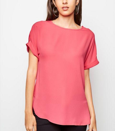 fc17c6f9a968b ... Bright Pink Roll Sleeve Chiffon Blouse ...