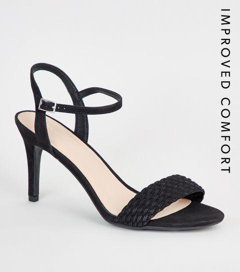 2dc9d6303653 ... Suedette Woven Strap Stiletto Heels ...