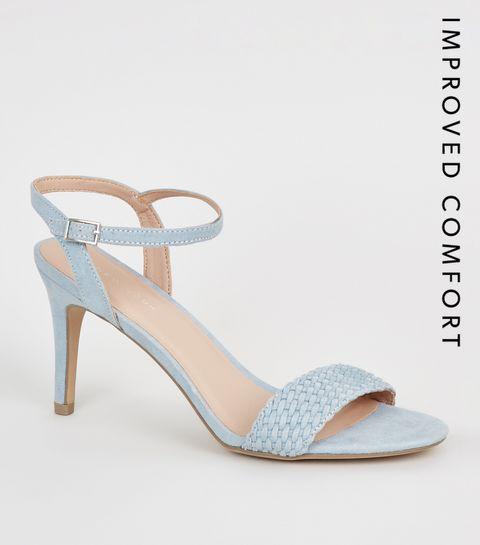 51a6bf62c5d ... Pale Blue Suedette Woven Strap Stiletto Heels ...