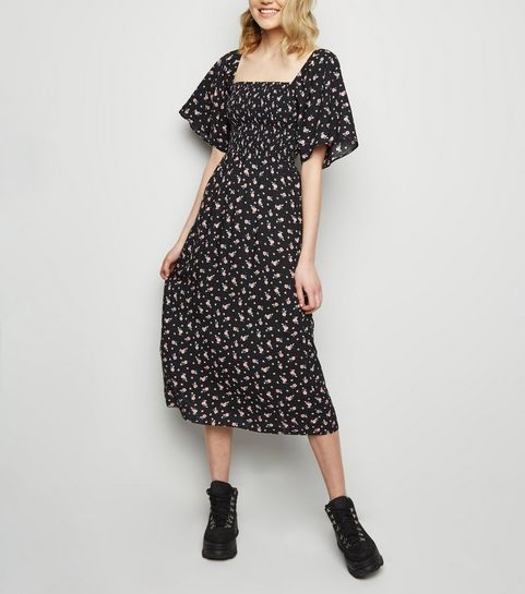 ... Black Floral Print Shirred Midi Dress ... 94c924694