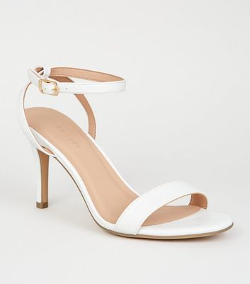 White Leather-Look 2 Part Stiletto Heels