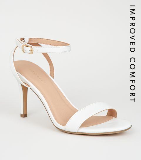 ... White Leather-Look 2 Part Stiletto Heels ... 615d9e589292