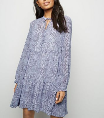 Petite Blue Snake Print Chiffon Smock Dress