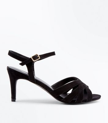 Black Suedette Strappy Low Stiletto Sandals