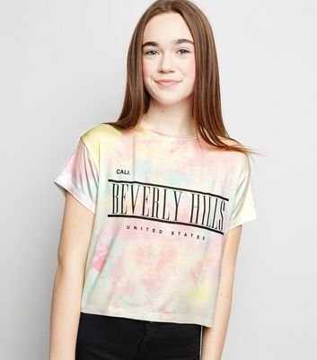 Girls Multicoloured Tie Dye Beverley Hill Slogan T-Shirt