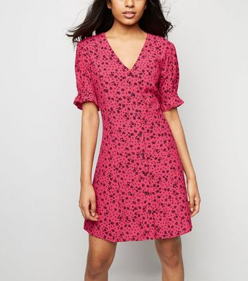 Petite Pink Ditsy Floral Button Front Tea Dress