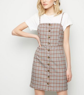 White Houndstooth Button Front Pinafore Dress