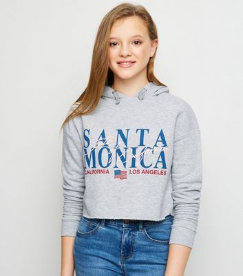 Girls - Sweat gris à capuche et slogan « Santa Monica »