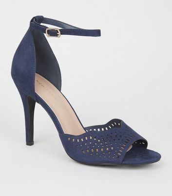 Navy Laser Cut Strap Stiletto Heels