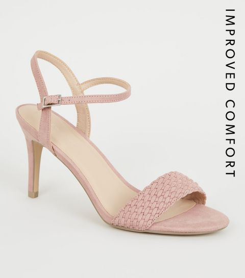 93e12acd36a01 ... Pink Suedette Woven Strap Stiletto Heels ...