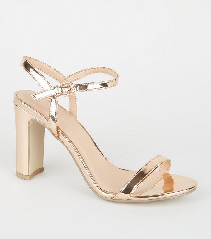 df1592423d3db Rose Gold Metallic Slim Block Heels   New Look