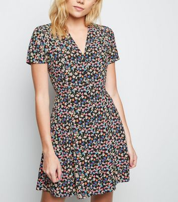 Black Floral Lattice Back Tea Dress