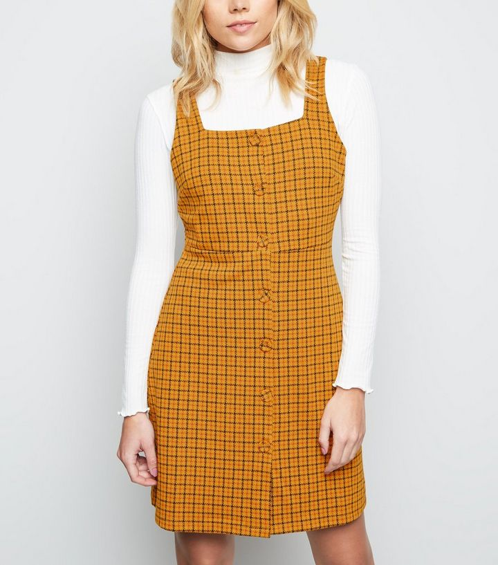 bbdb83a1632c Orange Check Button Front Pinafore Dress | New Look