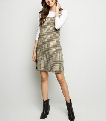 Mustard Houndstooth Circle Buckle Pinafore Dress