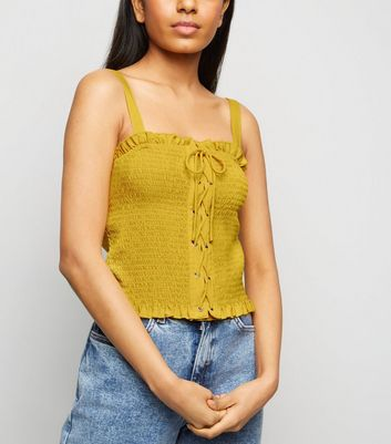 Petite Yellow Lace Up Front Cami